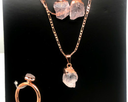 Raw Rose quartz  5 piece set    BR2288