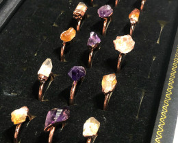 15 Raw terminated point Gemstones in copper Rings  BR 2291