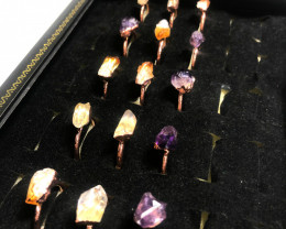 Raw terminated point Gemstones in copper Rings  BR 2292