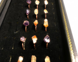 Raw terminated point Gemstones in copper Rings  BR 2293