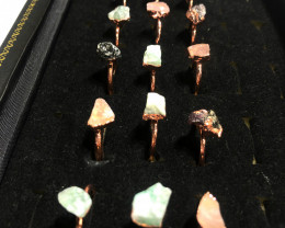 Garnet , Crystal , Aventurine Copper Rings 15 pcs BR 2295