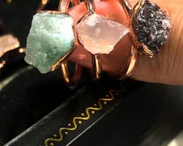 Garnet , Crystal , Aventurine Copper Rings 15 pcs BR 2297