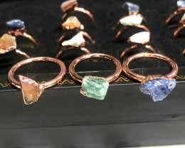 Carnelian ,Sodalite , Aventurine Copper Rings 15 pcs BR 2300