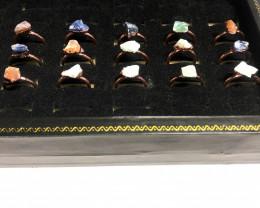 Carnelian ,Sodalite , Aventurine Copper Rings 15 pcs BR 2301