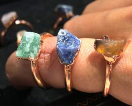 Carnelian ,Sodalite , Aventurine Copper Rings 15 pcs BR 2302