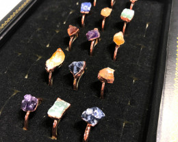 Five types Raw Gemstones in Copper Rings 15 pcs BR 2305