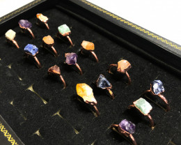 Five types Raw Gemstones in Copper Rings 15 pcs BR 2306