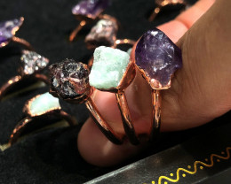 Raw Amethyst ,Garnet ,Aventurine  gemstones Copper Rings 15 pcs BR 2312