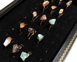 Raw Amethyst ,Garnet ,Aventurine gemstones Copper Rings 15 pcs BR 2315