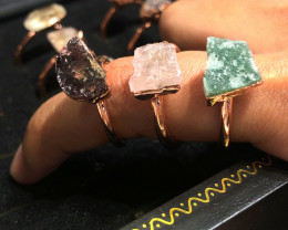 Raw Amethyst ,Garnet ,Aventurine gemstones Copper Rings 15 pcs BR 2316