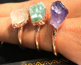 Eight Raw gemstones Ring Size 7 Copper Rings BR 2322