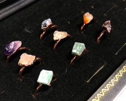 Eight Raw gemstones Ring Size 7 Copper Rings BR 2323