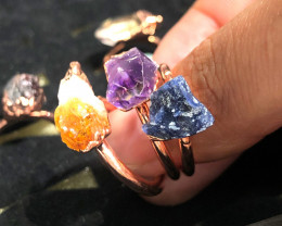 Eight Raw gemstones Ring Size 5 Copper Rings BR 2326