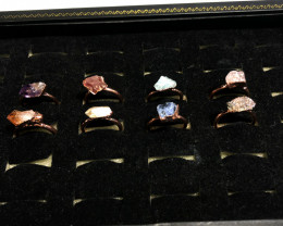 Eight Raw gemstones Ring Size 6 Copper Rings BR 2332