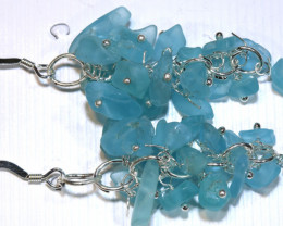 49.95CTS APATITE EARRINGS NEON BLUE UNTREATED SG-3024