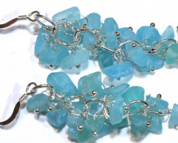 49.95CTS APATITE EARRINGS NEON BLUE UNTREATED SG-3026