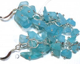 49.95CTS APATITE EARRINGS NEON BLUE UNTREATED SG-3027