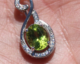 Peridot 1.65ct White Gold Finish Solid 925 Sterling Silver Pendant