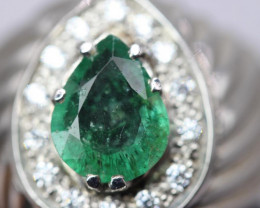 Natural Emerald from Zambia  white Rhodium 925 Sterling silver ring