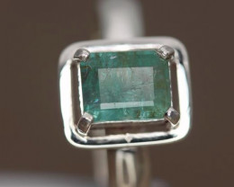 1.69 cts Natural Emerald from Afghanistan handmade  925 Sterling silver rin
