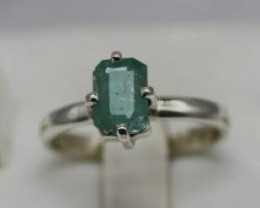 1.92 cts Natural Emerald from Afghanistanin handmade  925 Sterling silver r