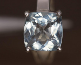 2.73 cts   Natural Aquamarine  Transparent  Handmade 925 Sterling silver ri