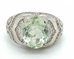 Prasiolite 4.89ct or Green Amethyst Rhodium Finish Solid 925 Sterling Silve