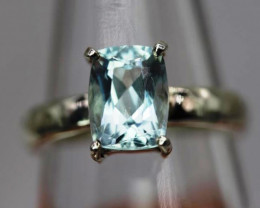Lovely  2.57 cts   Natural Aquamarine  Transparent  Handmade 925 Sterling s