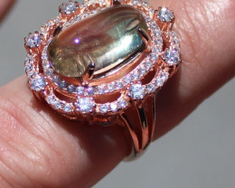 Watermelon Tourmaline 7.54ct Rose Gold Finish Solid 925 Sterling Silver Rin
