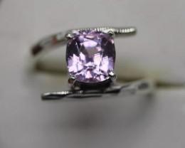 2.72 cts Natural Pink Kunzite  Transparent Handmade 925 Sterling silver r