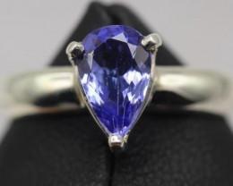 1.34 cts Natural Royal Blue Tanzanite Transparent in Handmade 925 Sterling