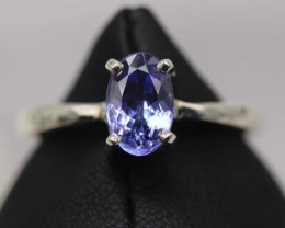 1.47 cts Natural Royal Blue  Tanzanite Transparent in Handmade 925 Sterling