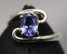1.21 cts Natural Royal Blue  Tanzanite Transparent in Handmade 925 Sterling