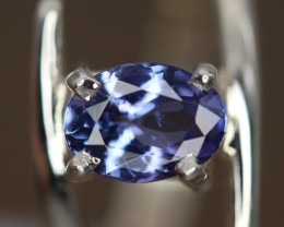 1.00 cts Natural Royal Blue  Tanzanite Transparent in Handmade 925 Sterling