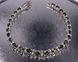 Deep Green Chrome Diopsite 925 Silver Bracelet by DANI Jewellery