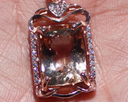 Imperial Topaz 8.80ct Rose Gold Finish Solid 925 Sterling Silver Pendant