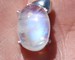 Moonstone 12.86ct Rhodium Finish Solid 925 Sterling Silver Pendant