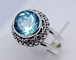 Natural Swiss Blue Topaz 925 Sterling Silver(JE62)