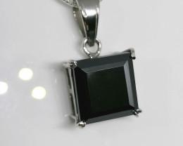 Black Diamond Solitaire Necklace 7.50cts.