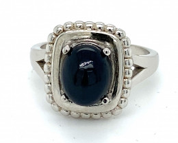 Blue Opal 2.00ct Rhodium Finish Solid 925 Sterling Silver Solitaire Ring
