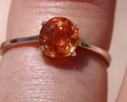 Spessartine Garnet .95ct Rhodium Finish Solid 925 Sterling Silver Solitaire