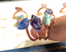 Eight Raw gemstones Ring Size 4 Copper Rings BR 2400