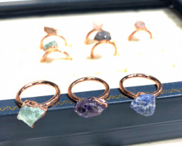Eight Raw gemstones Ring Size 4 Copper Rings BR 2401