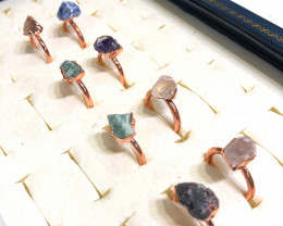 Eight Raw gemstones Ring Size 6 Copper Rings BR 2402