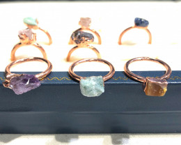 Eight Raw gemstones Ring Size 7  Copper Rings BR 2320