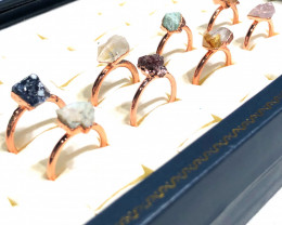 Eight Raw gemstones Ring Size 6 Copper Rings BR 2407