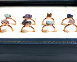 Eight Raw gemstones Ring Size 7 Copper Rings BR 2407