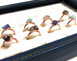 Eight Raw gemstones Ring Size 5 Copper Rings BR 2412