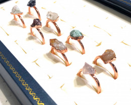 Eight Raw gemstones Ring Size 6 Copper Rings BR 2420