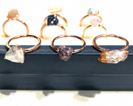 Eight Raw gemstones Ring Size 8 Copper Rings BR 2422